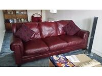 Three seater leather sofa- excellent condition