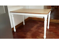 Solid Rubberwood Small Dining Kitchen Table, White Painted Turned Legs & Natural Top 120cmx75cmx75cm