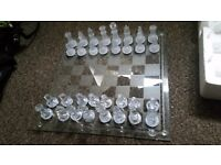 Glass chess set, great condition.