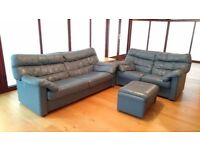 2 leather sofas in blue/grey colour