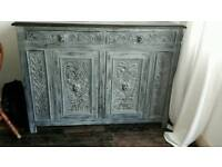 Solid oak cabinet vintage shabby chic