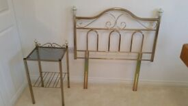 Brass Head board and side table