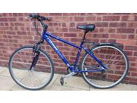 "For Sale 18"" Carrera Crossfire 2 Hybrid bike, dark blue, front suspension, in good condition"