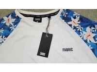 BNWT - Fabric Mens Floral Raglan T Shirt Medium Crew Neck Short Sleeve *SALE*