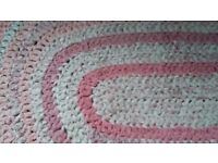Laura Ashley crochet rug small oval pink and white perfect for child's bedroom