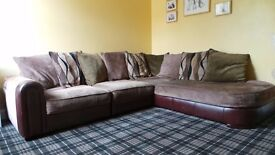 Corner Sofa- Brown, Beige and green with back scatter cushions