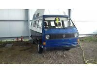 vw t25 camper project ,runs , no mot need trailering away, it requires welding in various places ,