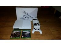 Xbox one S 500gb with controller, box, 2 x games