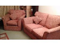 Sofa. Two seater and single Armchair. Rusty Red upholstery