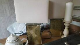 Gold and Silver Glitter Lamps