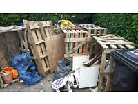 FREE - 3 large wooden crates and one smaller one. PLUS 7 wooden pallets various sizes.