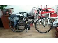 Bike trek hybrid with rear rack and bag