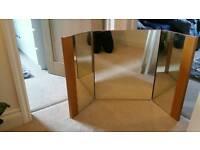 Solid oak three way dressing table mirror