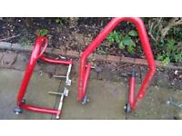 Good quality motor bike paddock stands front and rear