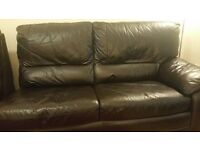 """Furniture Village 2.5 Seater """"Connaught"""" Dark Brown Leather Sofabed Very Good Condition"""