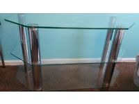 New Glass / chrome 3 shelves IKEA TV Trolley for tv / dvd etc only 15 from pets n smoke free home