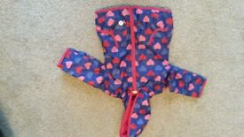Girls 18-24 months blue coat with red and pink hearts