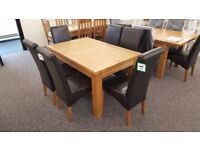 Astoria Extending Oak Dining Table & 6 Cuba Brown Faux Leather Dining Chairs **CAN DELIVER**