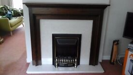 Mahogany mantelpiece, marble fire surround and hearth, 2kw coal effect fan heater