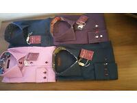 NEW Men's Italian Slim fit High Collar Formal Shirt Blue Purple,S,M ,L,XL RRP £75 Clearance Sale
