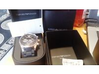 lovely mens armani watch complete with box brand new with cetificate black heavy duty rubber band