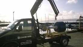hiab hire,mini crane,Crane Hire,Phone Box,lathe,engines,hot tub,boat,transport,removal,mini crane,
