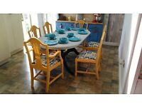 Lovely Bridgewater extendable dining table and 6 chairs in Arles yellow and Paris grey