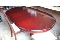 Mahogany table and four chairs