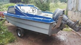 Cjr 16 ft fishing boat and trailer