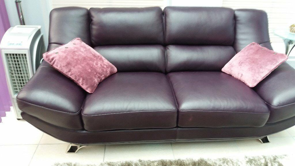Aubergine Leather Sofa And Matching Swivel Chair