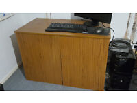 Retro vintage solid wooden desk with storage