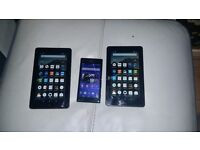 Sony experia M2 phone and 2 amazon kindle fire both 5th gen