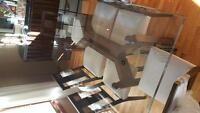 Wood/Glass dining table with 6 chairs