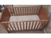 Mothercare admington oak cot bed with changing tray, airflow spring mattress and ikea poang chair