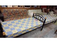 Two Black Metal-framed Single Beds with Mattresses in Excellent Condition