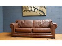 STUNNING HAND MADE Brown Crocodile Effect leather 3/4seater sofa???