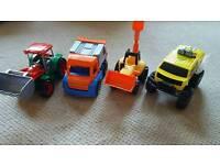 Toy vehicles x 4