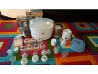 Tommee Tippee bundle: electric steriliser, bottles, bottle warmers etc