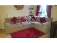Beige fabric corner sofa from oak furniture land