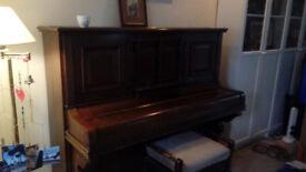 Metzler upright piano & stool