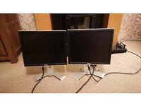 "2 Dell 17"" Monitors. Silver & Black. Height Adjustable."
