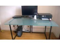Computer/study/multi-purpose table (tempered glass top and metal base)