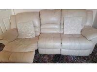 3 seater cream leather recliner and 2 seater.