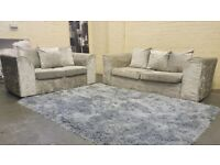 DFS SILVER GREY CRUSH VELVET SOFA SET IN EXCELLENT CONDITION 3+2 SEATER + FREE DELIVERY