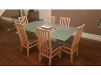Large Glass Top Table and 6 Chairs