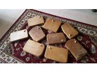 wooden chopping boards x 8