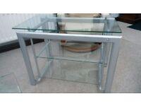 Three shelf glass tv stand