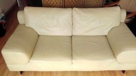 Real leather beautiful cream 2 seater sofa, less than 1 year old, top quality and condition