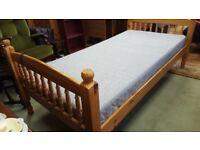 Pine Single Bed & Mattress