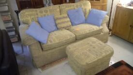 Fabric sofa with Pouffe Very good condition ONLY £55 CHEAP local DELIVERY Stalybridge SK15 3DN